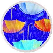 Rainy Day Parade Round Beach Towel