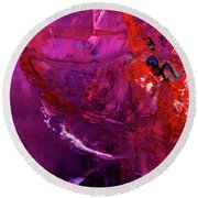 Rainy Day Woman - Purple And Red Large Abstract Art Painting Round Beach Towel