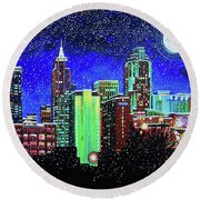 Raleigh Skyline Winter Night 16 X 20 Ratio Round Beach Towel