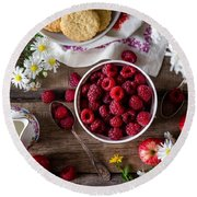 Raspberry Breakfast Round Beach Towel