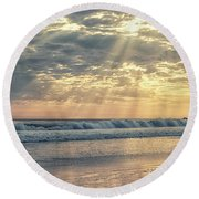 Rays From Above Round Beach Towel