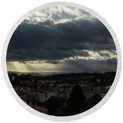 Round Beach Towel featuring the photograph Rays Over Santiago by Alex Lapidus