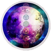 Reach Out To The Stars Round Beach Towel