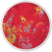 Red Cherry Abstract Painting Round Beach Towel