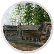 Rebel Huts, Port Hudson, Louisiana 1863 Round Beach Towel