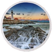Round Beach Towel featuring the photograph Receding Cascade At Portland Head by Rick Berk