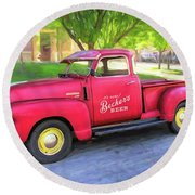 Red 1950 Chevy 3100 Pickup Round Beach Towel