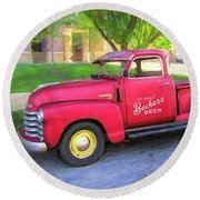 Red 1950 Chevy 3100 Pickup Round Beach Towel
