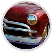 Red 1950 Ford Traditional Custom Round Beach Towel