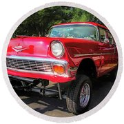 Red 1956 Chevy Gasser Round Beach Towel