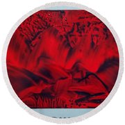 Red And Black Encaustic Abstract Round Beach Towel