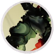 Red And Black Ink Blot I Round Beach Towel