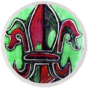 Red And Green Fleur De Lys Drawing Round Beach Towel