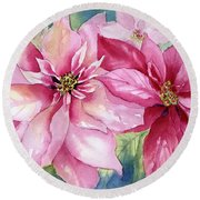 Red And Pink Poinsettias Round Beach Towel