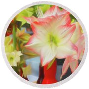 Red And White Amaryllis Round Beach Towel