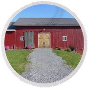 Round Beach Towel featuring the photograph Red Barn by Rosanne Licciardi