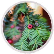 Round Beach Towel featuring the photograph Red Berry On Green by Scott Lyons