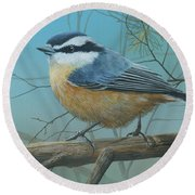 Red Brested Nuthatch Round Beach Towel