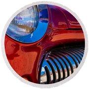 Red Car Chrome Grill Round Beach Towel