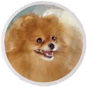 Red Carpet Pomeranian Round Beach Towel