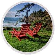 Red Chairs At Agate Beach Round Beach Towel