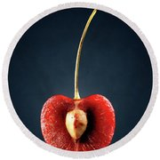 Red Cherry Still Life Round Beach Towel