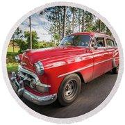 Red Classic Cuban Car Round Beach Towel