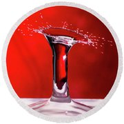 Round Beach Towel featuring the photograph Red Column Water Drop Collision by SR Green