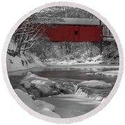 Red Covered Bridge Round Beach Towel