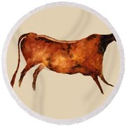 Red Cow In Beige Round Beach Towel