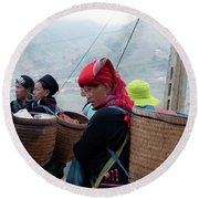 Red Dao Woman, Sapa, Vietnam Round Beach Towel