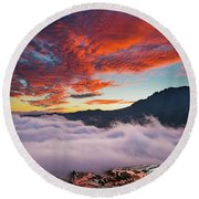 Red Dawn At Rice Terraces Round Beach Towel