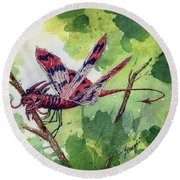 Round Beach Towel featuring the painting Red Dragonfly by Sam Sidders