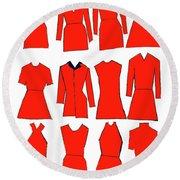 Red Dresses Round Beach Towel