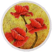 Round Beach Towel featuring the painting Red Enchantment by Amy E Fraser