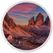 Red Evening On Tre Cime Di Lavaredo Round Beach Towel