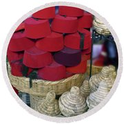 Red Fez Tarbouche And White Wicker Tagine Cookers Round Beach Towel