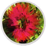 Red Flower Flames Round Beach Towel