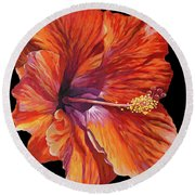Red Hibiscus On Black Round Beach Towel