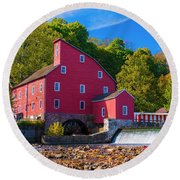 Red Mill Photograph Round Beach Towel