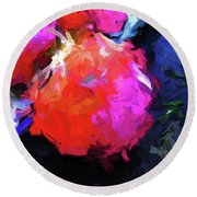 Red Pomegranate In The Blue Light Round Beach Towel