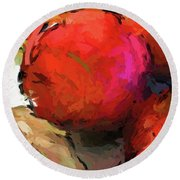 Red Pomegranate In The Yellow Light Round Beach Towel