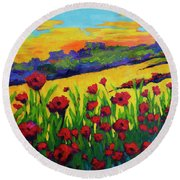Red Poppies In Spring Round Beach Towel