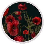 Red Poppies On Black Round Beach Towel