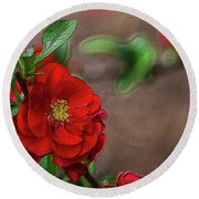 Red Quince Painterly Round Beach Towel