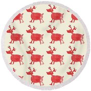 Red Reindeer Pattern Round Beach Towel
