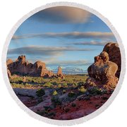Red Rock Formations Arches National Park  Round Beach Towel