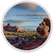 Round Beach Towel featuring the photograph Red Rock Formations Arches National Park  by Nathan Bush