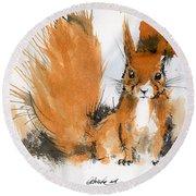 Red Squirrel 2 Round Beach Towel
