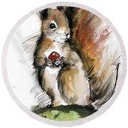 Red Squirrel 3 Round Beach Towel